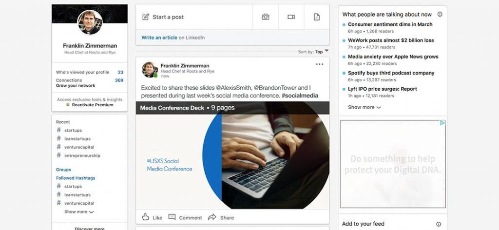 linkedin documenti post social network profilo online web